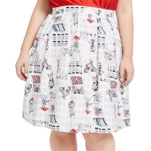 ModCloth Rainy Day in Paris White Printed Skirt